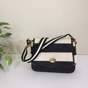 Tommy Hilfiger striped fabric canvas crossbody bag